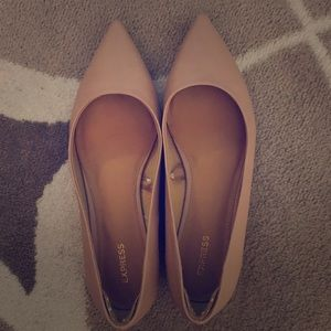 Express pointed nude flats